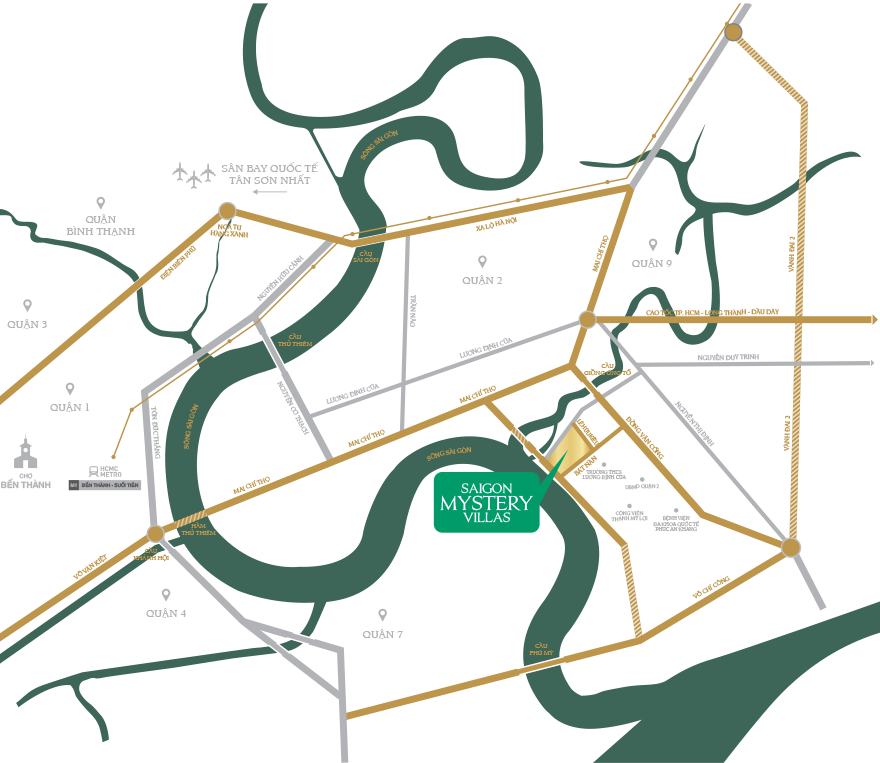 Vị trí dự án Saigon Mystery Villas quận 2 Hưng Thịnh