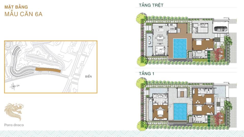 Thiết kế chi tiết mẫu biệt thự 6A Para Draco Cam Ranh