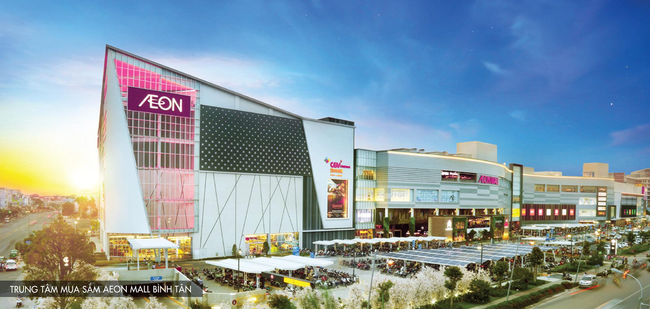AEON MALL Bình Tân: là trung tâm thương mại phong cách Nhật Bản thứ 4 tại Việt Nam. AEON Mall với quy mô diện tích hơn 110,000m2 sẽ trở thành trung tâm giải trí cao cấp nhất khu vực