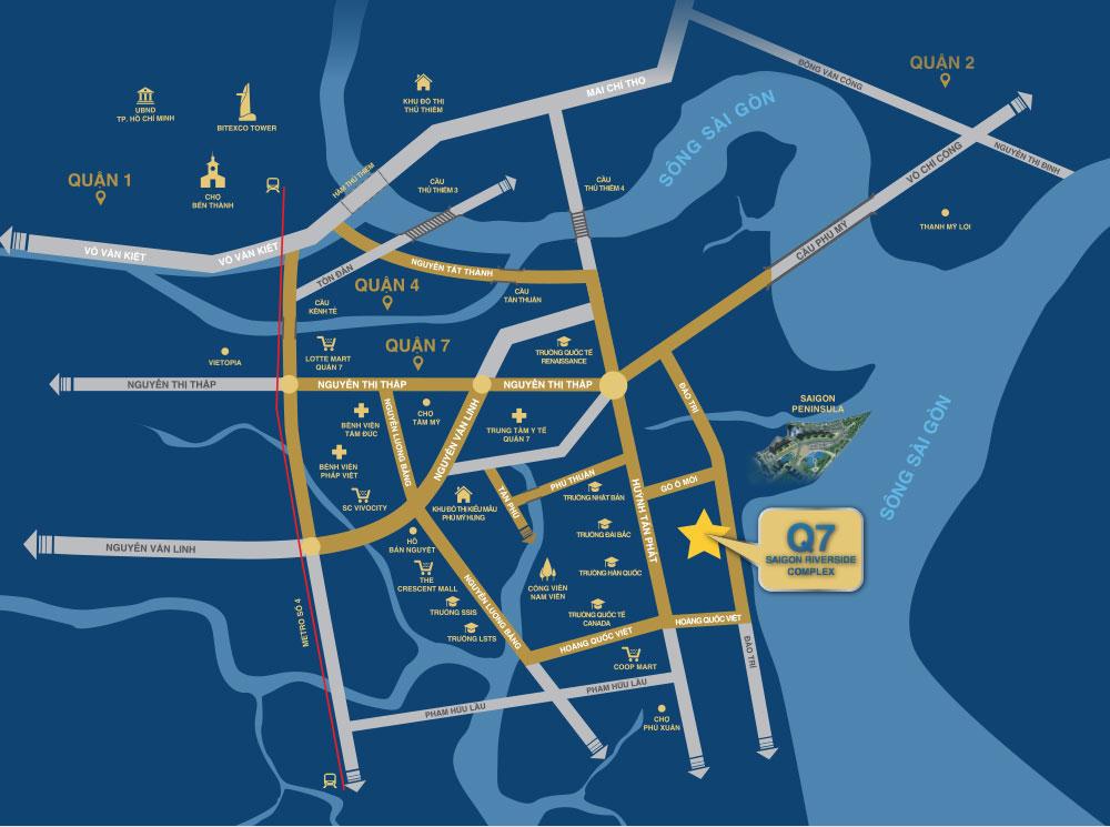 Vị trí dự án Q7 Saigon Riverside Complex Hưng Thịnh