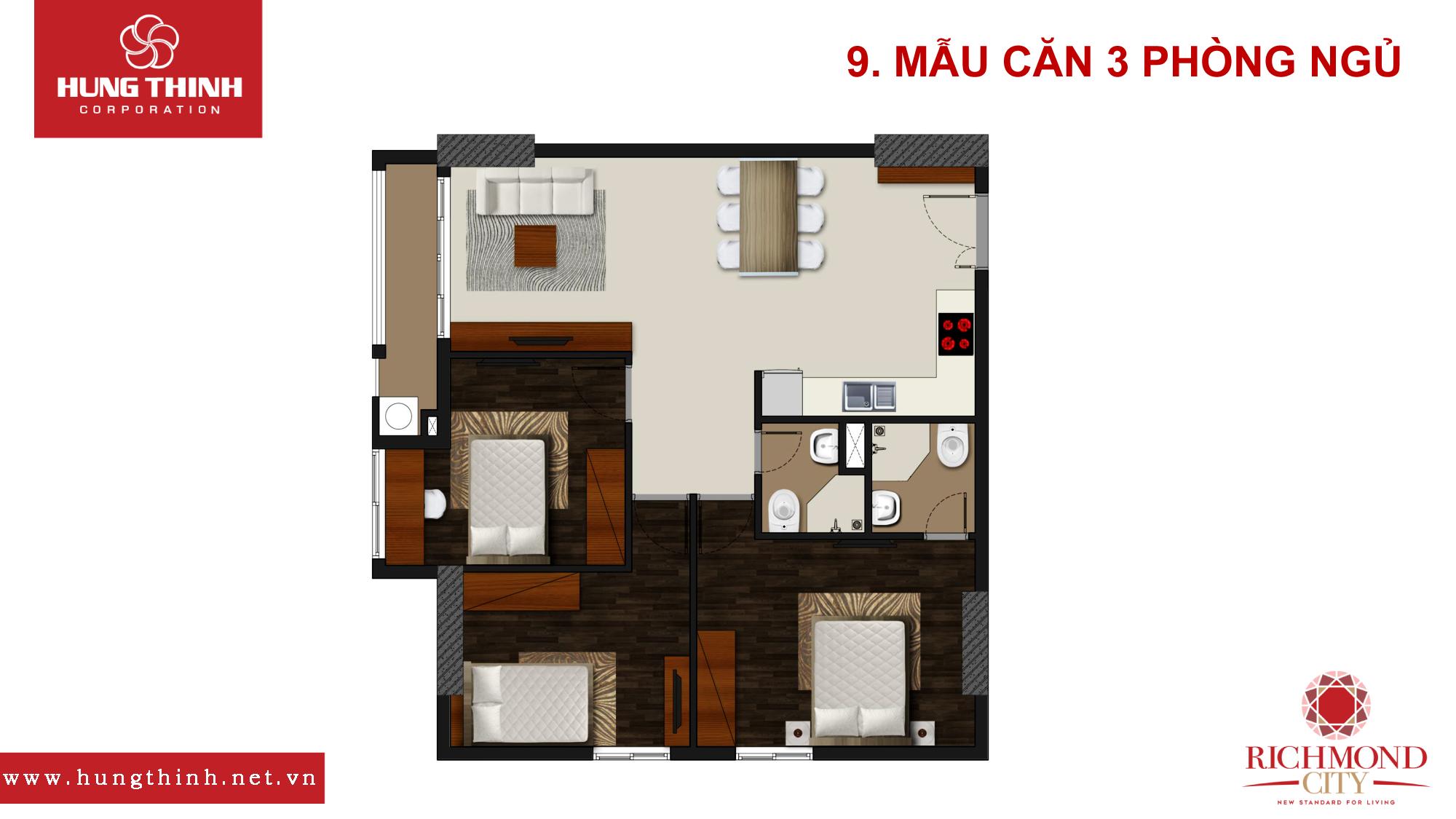 Mẫu căn hộ 3 PN Richmond City