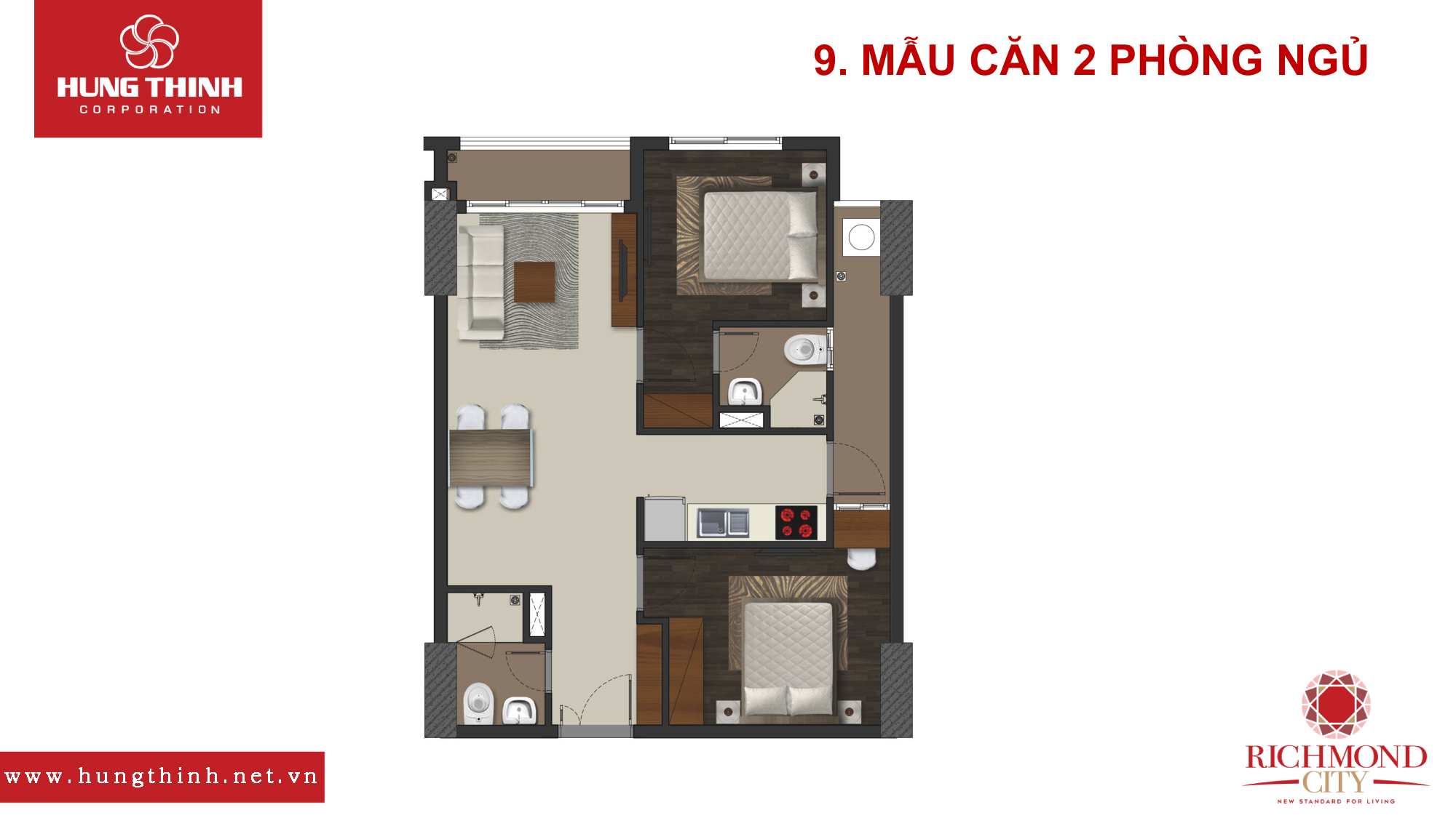 Mẫu căn hộ 2 PN Richmond City
