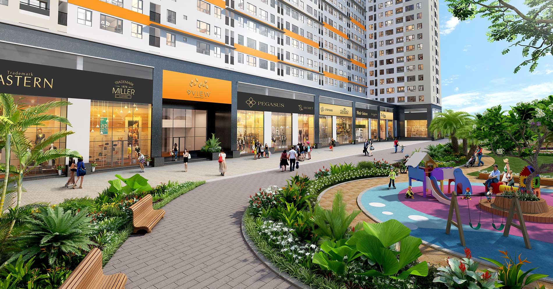 Shophouse 9 View với vị trí tâm điểm thu hút lượng khách lớn từ khu căn hộ và khách vãng lai của khu vực sầm uất quận 9 vừa thuận lợi cho kinh doanh và cho thuê.