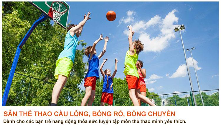 Sân thể thao cầu lông,bóng rổ căn hộ 9 view