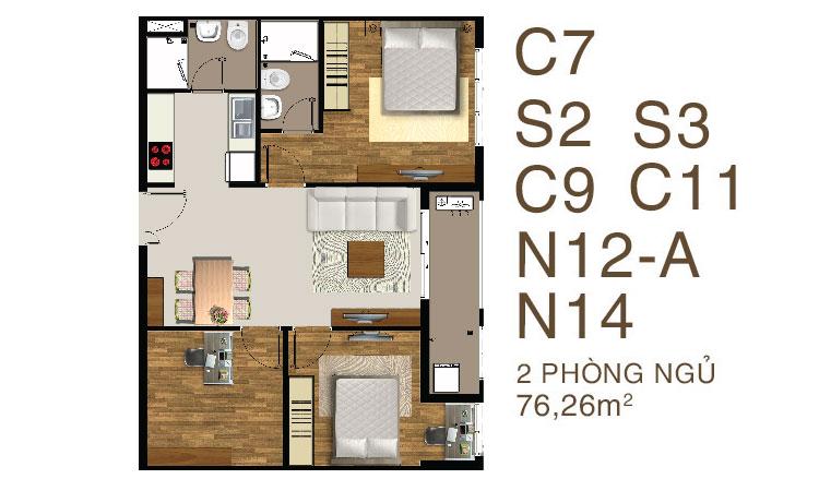 Mẫu căn hộ Saigon Mia 2 PN