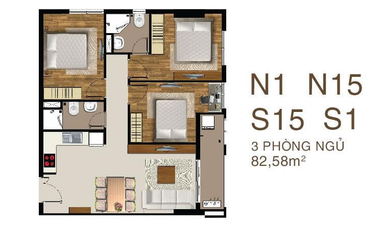 Mẫu căn hộ Saigon Mia 3 PN