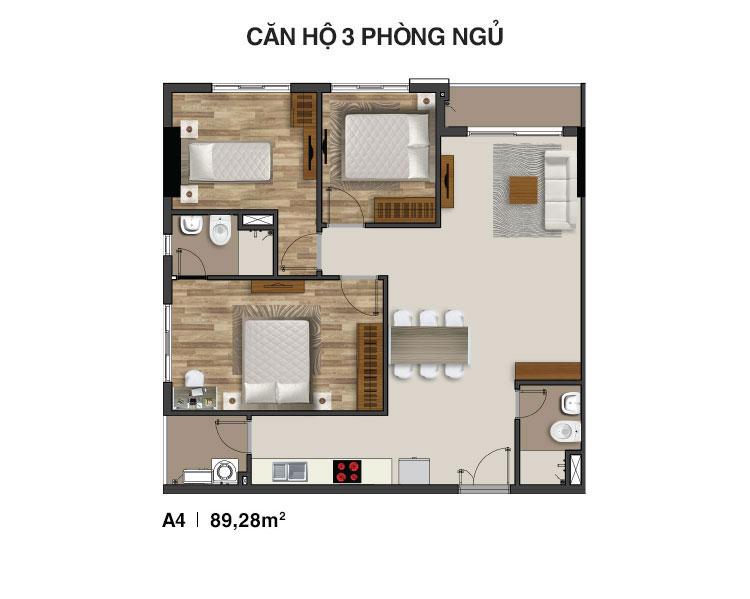 Mẫu căn hộ 3 PN Moonlight Residences
