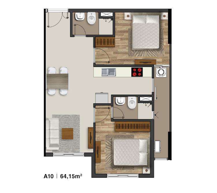 Mẫu căn hộ 2 PN Moonlight Residences