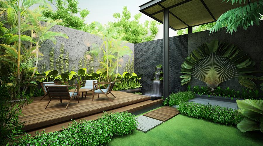Khoảng sân vườn trên căn hộ moonlight residences