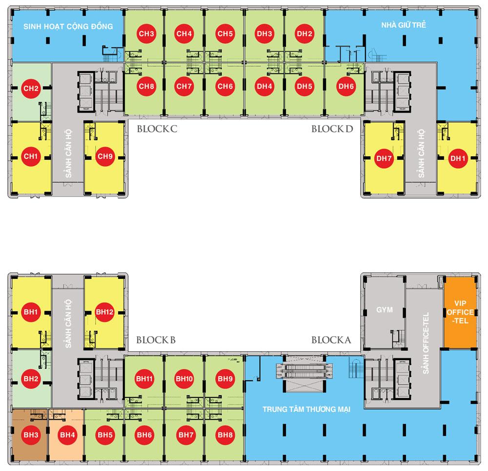 Sky Center gồm 04 block (03 block căn hộ và 01 block officetel) được thiết kế theo phong cách hiện đại, kết hợp nghệ thuật tạo hình cảnh quan và bố trí hợp lý giúp các tất cả các căn hộ đều có tầm nhìn thoáng đãng.